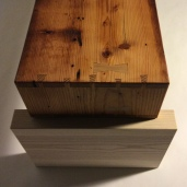 """The douglas fir """"box"""" table top features dovetail joinery."""