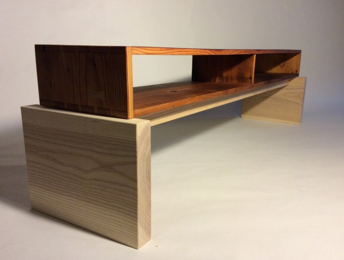 Coffee table made of salvaged douglas fir and unfinished ash, with dovetail and butterfly joinery. $800