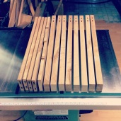 """""""Dominos"""", a form of mortise and tenon joinery, cut in legs and rails."""
