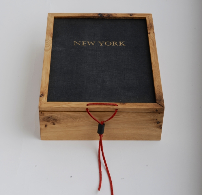 """Oak and Recycled """"New York"""" Book Cover Keepsake Box. $110.00"""