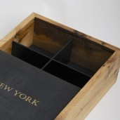 Inside dividers form six compartments for tea, jewelry or keepsakes. Dividers are removable.