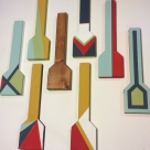 In addition to the fine woodworking cabinets in the exhibit, a collection of painted SWATs are available. $60-$70