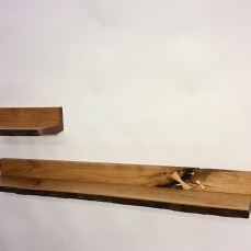 Floating live-edge cherry shelf in two parts, above left.