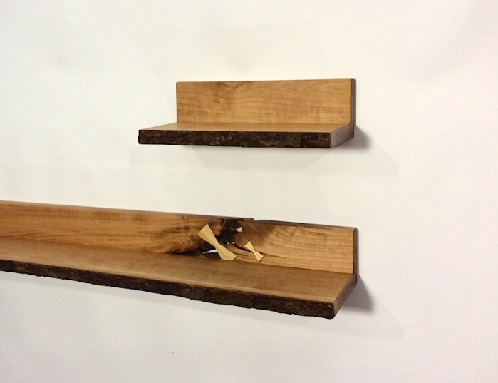 Floating Live-Edge Cherry Shelf in Two Part.