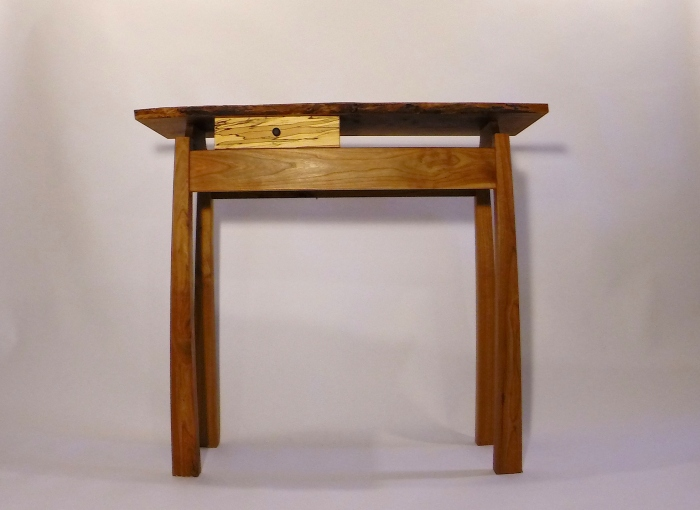 Solid cherry table with shelf and drawer. $749