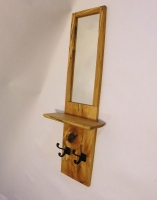 Spalted maple with shelf and iron hooks.