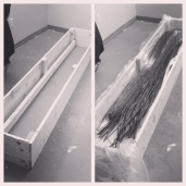 I had to build a trough for the willow. It has to soak for a week to become pliable.